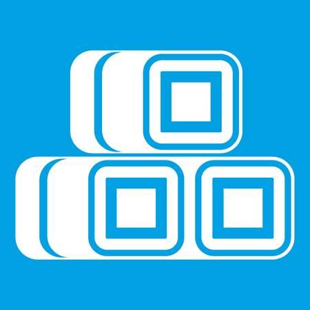 bales: White hay bundles icon isolated on blue background vector illustration