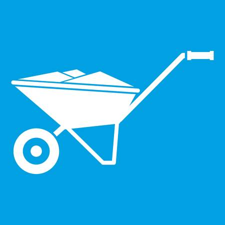 White wheelbarrow icon isolated on blue background vector illustration Illustration