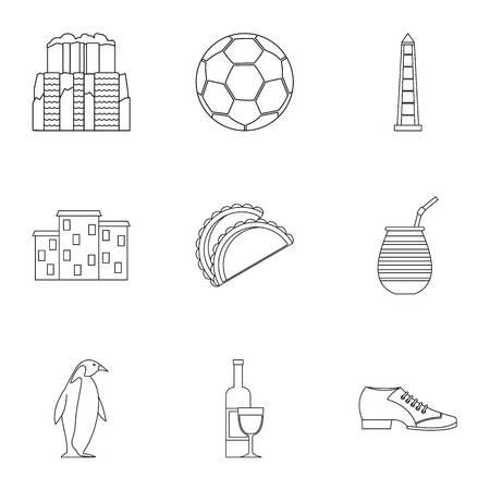 Attractions des icônes argentine définies . ensemble de 9 attractions icônes de l & # 39 ; argentine vecteur pour web isolé sur fond blanc Banque d'images - 82952732