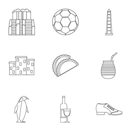 Attractions of Argentina icons set. Outline set of 9 attractions of Argentina vector icons for web isolated on white background Иллюстрация
