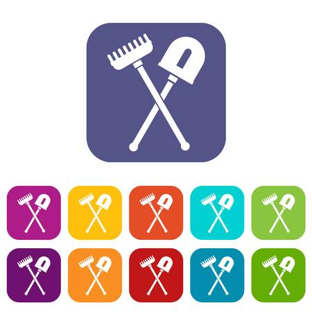 Shovel and rake icons set vector illustration in flat style in colors red, blue, green, and other Illustration