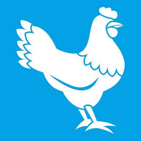 Hen icon white isolated on blue background vector illustration