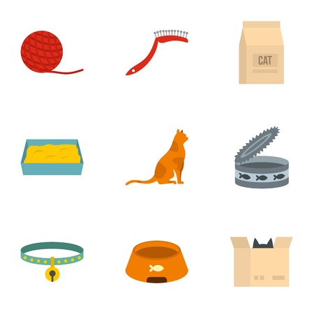 Happy cat life icons set. Cartoon set of 9 happy cat life vector icons for web isolated on white background Illustration
