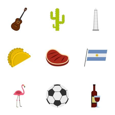 bandera de peru: Atracciones de la Argentina conjunto de iconos. Conjunto de dibujos animados de 9 atracciones de la Argentina iconos vectoriales para web aisladas sobre fondo blanco