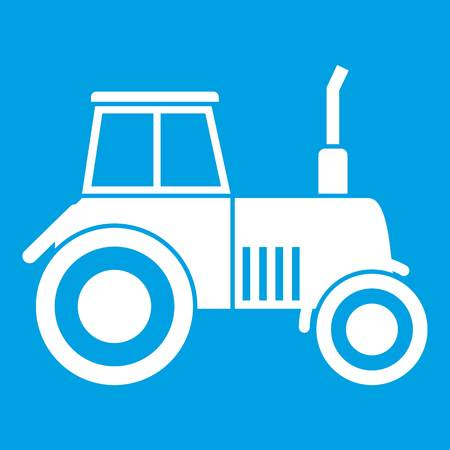 Tractor icon white isolated on blue background vector illustration