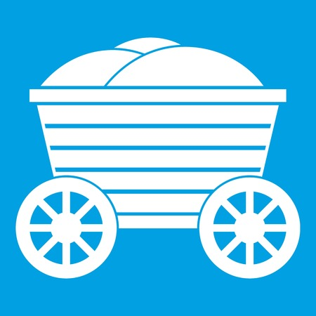 axle: Vintage wooden cart icon white isolated on blue background vector illustration