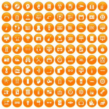100 set in orange circle isolated on white vector illustration