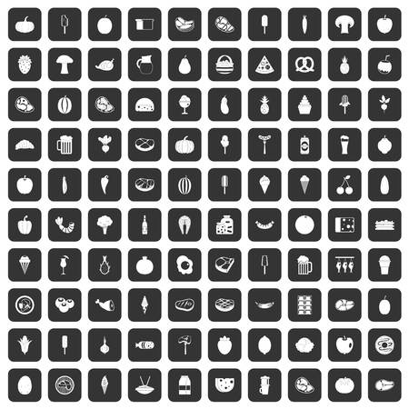 100 voedselpictogrammen die in zwarte kleur geïsoleerde vectorillustratie worden geplaatst