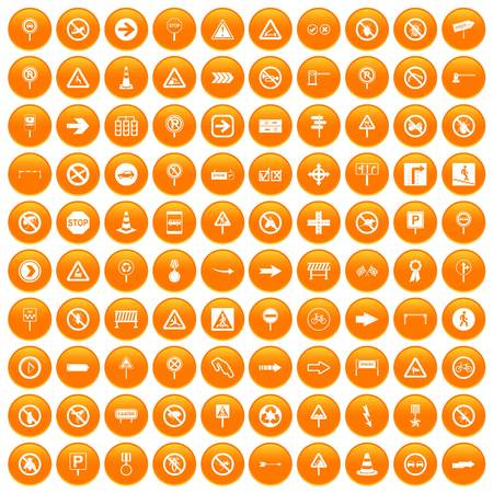 100 road signs icons set in orange circle isolated on white vector illustration