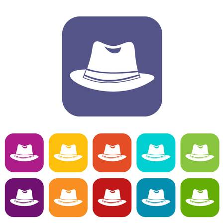 Hat icons set vector illustration in flat style in colors red, blue, green, and other