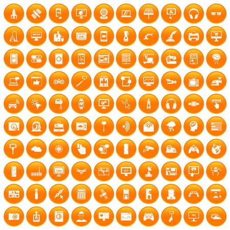 100 software icons set in orange circle isolated on white vector illustration