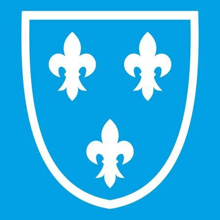 Crest icon white isolated on blue background vector illustration Illustration