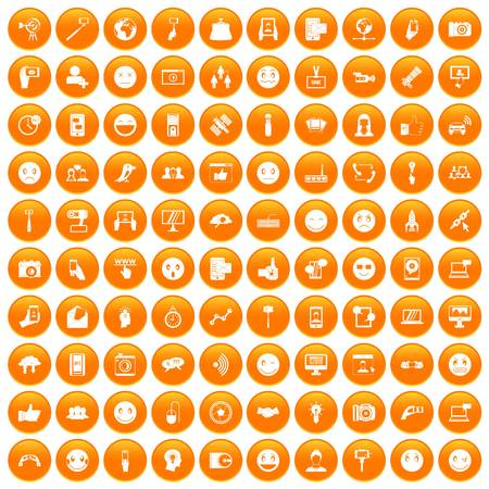 100 social media icons set in orange circle isolated on white vector illustration