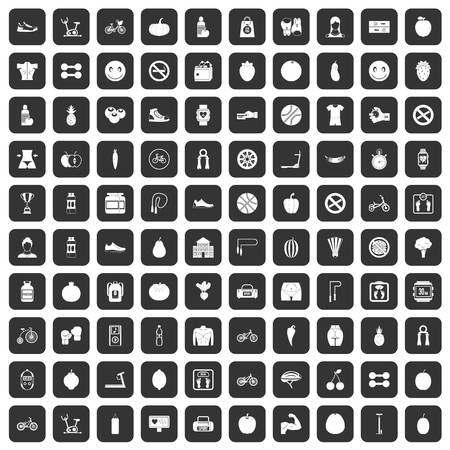 heart monitor: 100 fitness icons set in black color isolated vector illustration Illustration