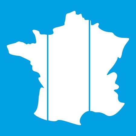 corsica: France icon white isolated on blue background vector illustration Illustration