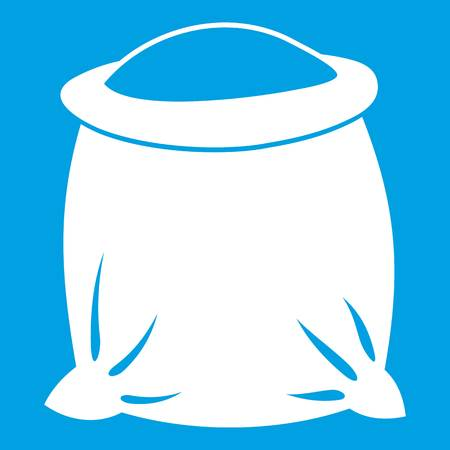 Sack full of flour icon white isolated on blue background vector illustration
