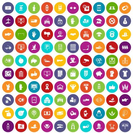 100 hand icons set color Illustration