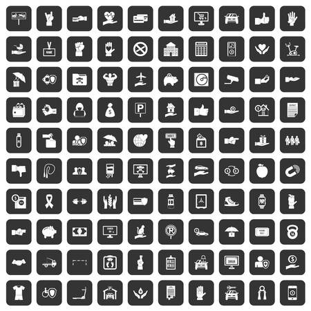 100 hand icons set in black color isolated vector illustration Illustration