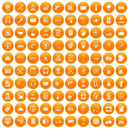100 support center icons set in orange circle isolated on white vector illustration