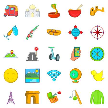 Paris icons set. Cartoon set of 25 paris icons for web isolated on white background Illustration