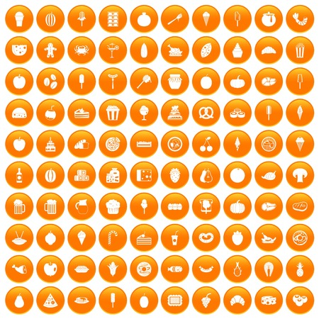 100 tasty food icons set orange