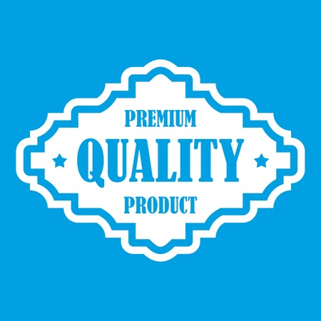 polished: Premium quality product label icon white