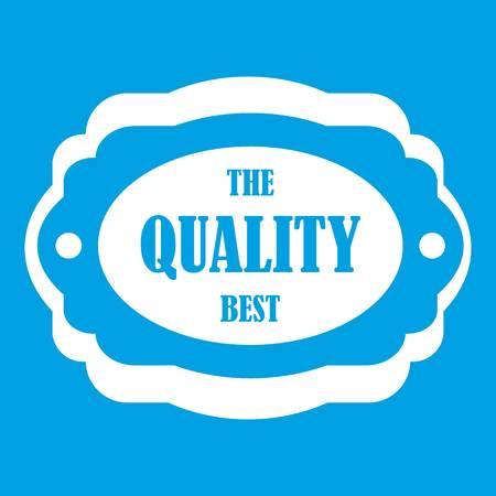 polished: The quality best label icon white isolated on blue background vector illustration Illustration