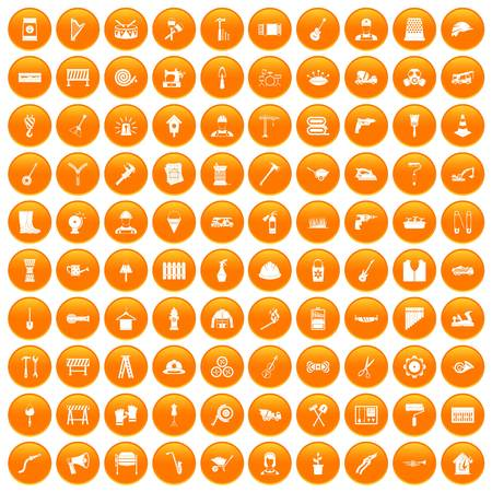 100 tools icons set in orange circle isolated on white vector illustration