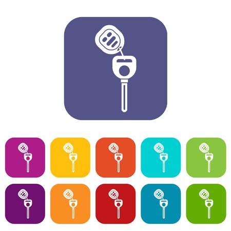Car key with remote control icons set vector illustration in flat style in colors red, blue, green, and other Çizim