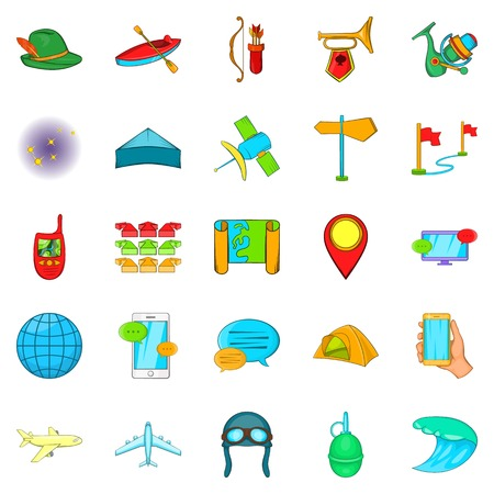 on top of the world: Traveling on the planet icons set. Cartoon set of 25 traveling on the planet icons for web isolated on white background