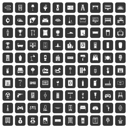 iron fan: 100 home icons set in black color isolated vector illustration Illustration