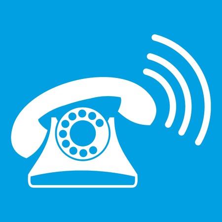 Retro phone icon white isolated on blue background vector illustration