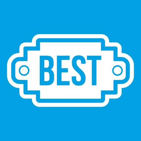 Best label icon white isolated on blue background vector illustration