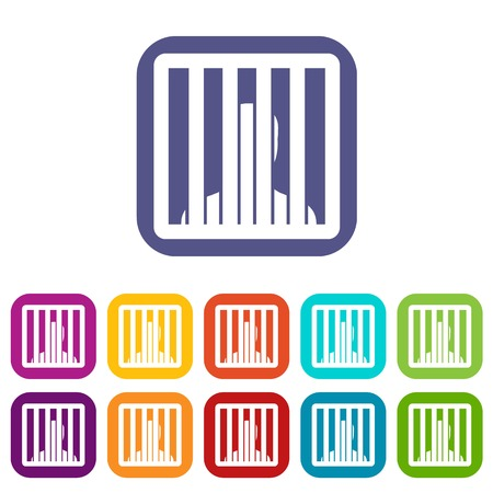 Man behind jail bars icons set vector illustration in flat style in colors red, blue, green, and other