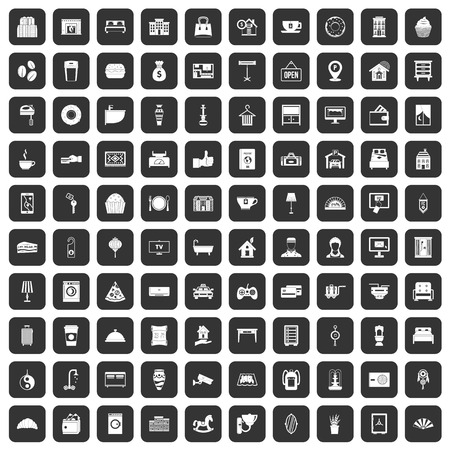 100 hotel icons set in black color isolated vector illustration Illustration