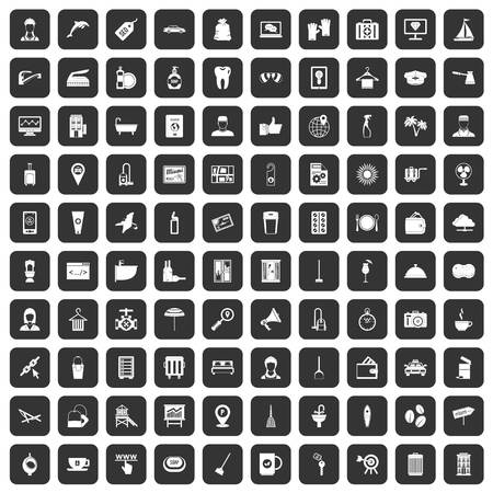 doctor gloves: 100 hotel services icons set black
