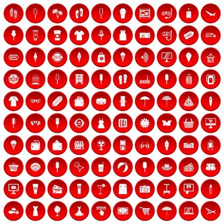 100 summer shopping icons set red Ilustração
