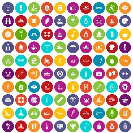 100 human health icons set color