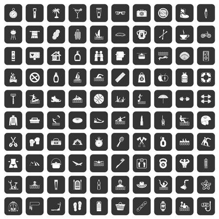 100 human health icons set black Illustration