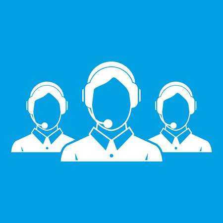 Atención al cliente operadores icono blanco