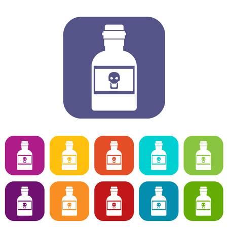 Poison bottle icons set