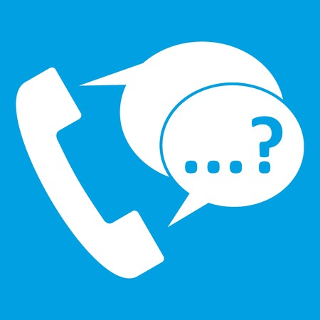 Phone sign and support speech bubbles icon white Illustration