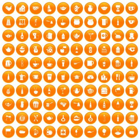 100 utensil icons set in orange circle isolated on white vector illustration
