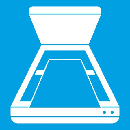 Open scanner icon white isolated on blue background vector illustration Illustration