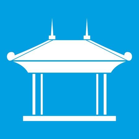 Het pictogramwit van de pagode dat op blauwe vectorillustratie wordt geïsoleerdd als achtergrond
