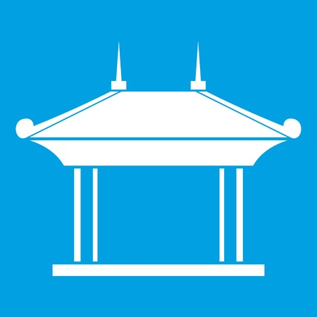 Pagoda icon white isolated on blue background vector illustration Illustration