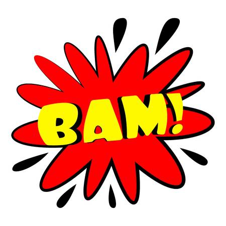 Bam explosion sound effect icon. Cartoon illustration of bam explosion sound effect vector icon for web design Illustration