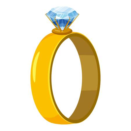 Gold ring with diamond icon. Cartoon illustration of ring with diamond vector icon for web design