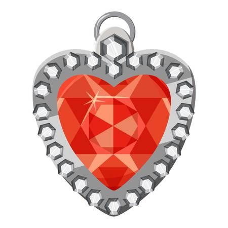 Heart shaped pendant icon. Cartoon illustration of heart shaped pendant vector icon for web design