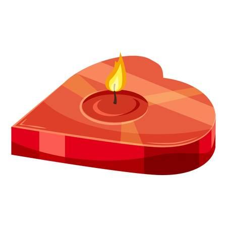 Heart shaped candle icon. Cartoon illustration of candle vector icon for web design